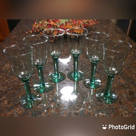 Vintage Set of Six Green Tinted Mouth Blown Wine Glasses